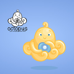 Little yellow baby octopus photographer character with a camera on blue background. Logo for children photo studio.