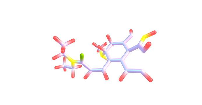 Lysergic acid diethylamide or LSD molecule isolated on white