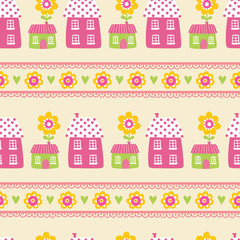 Vector seamless illustration of houses on a yellow background. The pattern of the houses. Wallpaper in a cartoon style with flowers and houses.
