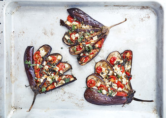 Eggplant with tomatoes and feta cheese
