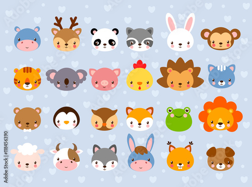 Big vector set with animal faces collection of cute baby animals in big vector set with animal faces collection of cute baby animals in cartoon style on voltagebd Image collections