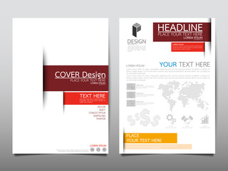 Red triangle cover business brochure vector design, Leaflet advertising abstract background, Modern poster magazine layout template, Annual report for presentation.