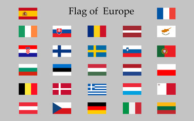 Flags of Europe, complete set,