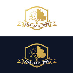 Gold The Oak Tree (half branch and half leaves) and ribbon label logo vector art design