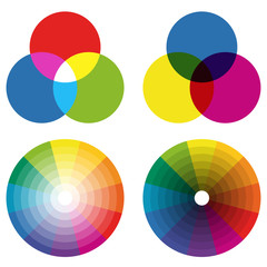 collection of color wheels with overlaying colors