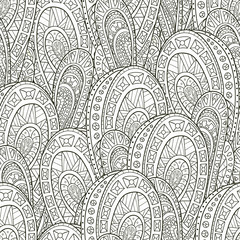 Seamless pattern of hand-drawn elements of style paisley. Monochrome range. Vector graphics. The pattern for the coloring books.