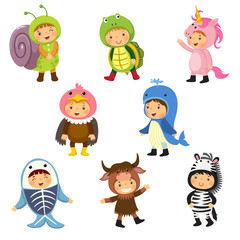 Set of cute kids wearing animal costumes.