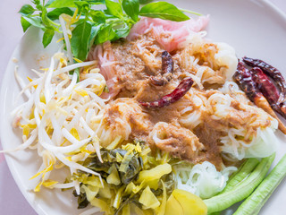 Thai rice vermicelli with curry and vegetable