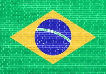 Flag of Brazil on brick wall texture background