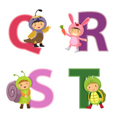 English alphabet with kids in animal costume, Q to T letters
