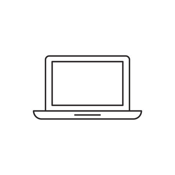 Outline laptop icon isolated on white background
