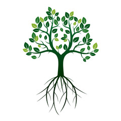 Shape of Green Tree and Roots. Vector Illustration.