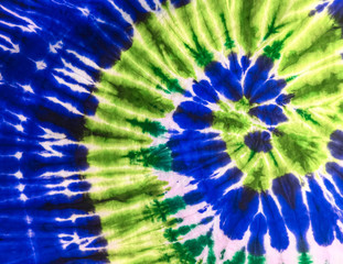Abstract Swirl Design Tie Dye on the fabric