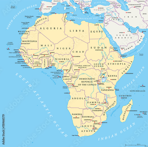 Africa Map With Capitals National Borders Rivers And Lakes The