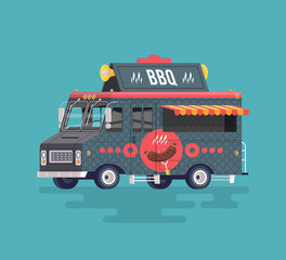 Vector colorful flat barbecue truck. Fried and smoked meat. Street cuisine. Cartoon food truck illustration.