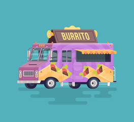 Vector colorful flat burrito truck. Arabian and Eastern traditional cuisine. Cartoon food truck illustration.