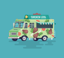 Vector colorful flat fried chicken legs truck. Street cuisine. Cartoon food truck illustration.