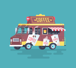 Vector colorful flat coffee truck. Cartoon illustration.