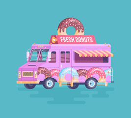 Vector colorful flat donut truck. Cartoon food truck illustration.
