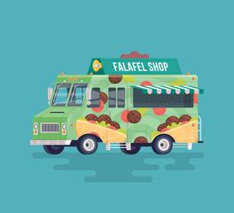 Vector colorful flat falafel street cuisine truck. Street cuisine. Cartoon food truck illustration.