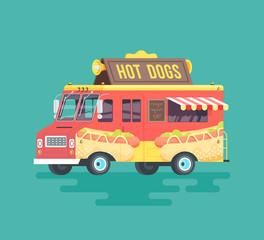 Vector colorful flat hot dog truck. Cartoon illustration.