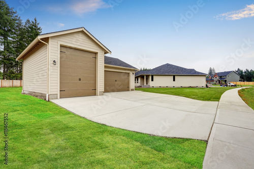 Separate garage and shop room with driveway stock photo for Separate garage
