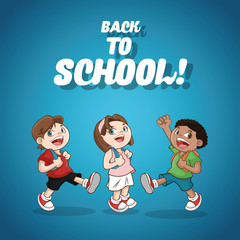 kids girl boys back to school cartoon icon. Colorful design. Vector illustration