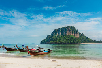 long boat and poda island in Krabi Thailand