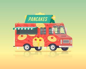 Vector colorful flat pancakes truck. Street cuisine. Vintage colors concept illustration.