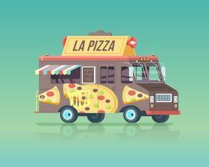 Vector colorful flat pizza truck. Vintage colors concept illustration.