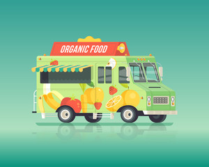 Vector colorful flat organic food truck. Street cuisine. Fruits and vegetables delivery wagon. Vintage colors concept illustration.