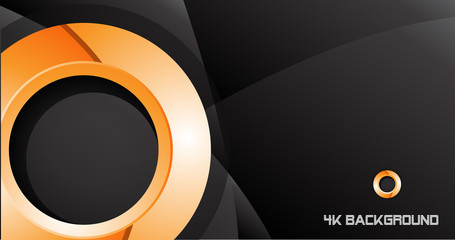 Orange circle abstract black background template 4K