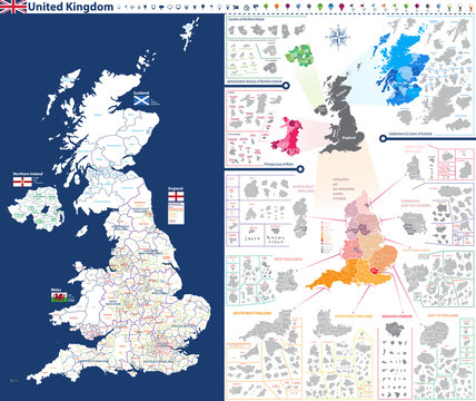 high-detailed administrative units map of United Kingdom. All elements entitled and easy-to-use