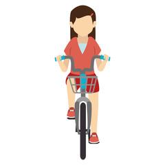 bike ride girl lady bicycle fun healthy wheels urban vehicle vector illustration isolated