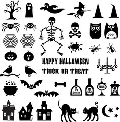 Halloween Icon Silhouettes Clipart