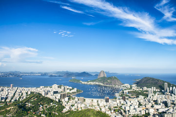 Bright scenic overlook of the Rio de Janeiro city skyline with Sugarloaf Mountain and Guanabara Bay