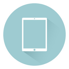 Tablet icon flat style ,isolated on background with shadow, vector illustration for web design