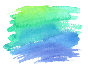 Bright green and blue gradient color stain painted in watercolor on white isolated background