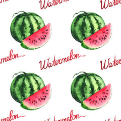 Watercolor watermelon and red slice seamless pattern vector