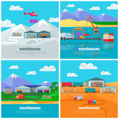 Worldwide Warehouse. Logistics containers shipping