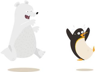 ours poursuivant un pingouin