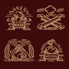 Set of vintage bakery labels, badges and design elements