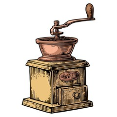 Coffee mill. Vintage color vector engraving illustration