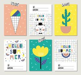 Set of bright summer cards.