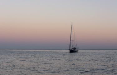 Yacth in sunset. Black sea.
