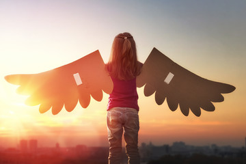 Kid with the wings of a bird