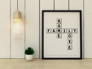 Home, love, family and happiness concept. Poster in frame Scandinavian style home interior. 3D render