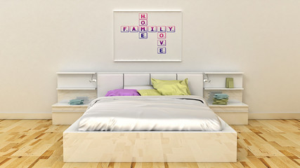 Home, love, family and happiness concept. Poster in frame modern Scandinavian style home interior. 3D render