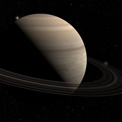 Fototapete - planet saturn with rings on the space background