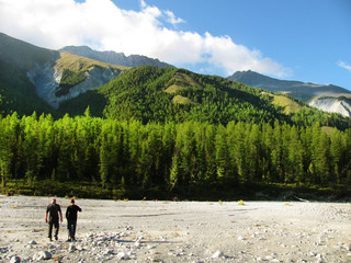 People in the mountains. Wild nature. Altai. Adventure Tour.